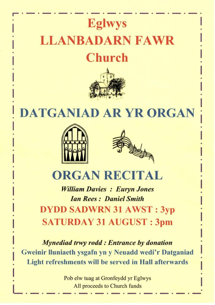 Datganiad ar yr organ / Organ recital 31-08-2019